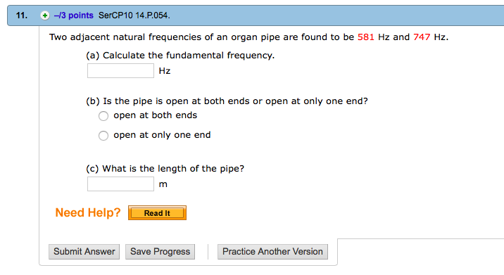 Solved: Two Adjacent Natural Frequencies Of An Organ Pipe