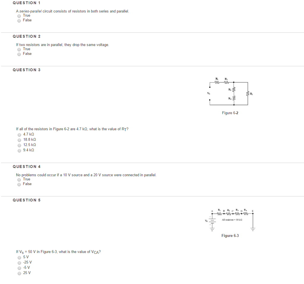 Solved A Series Parallel Circuit Consists Of Resistors In Circuits Question 1 Both And