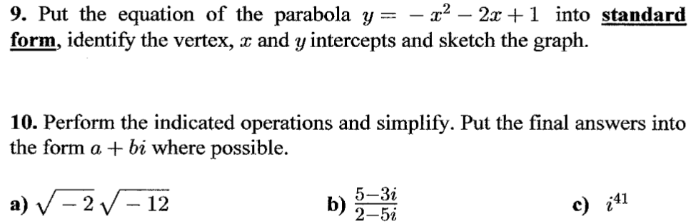 Solved Put The Equation Of The Parabola Y X2 2x 1