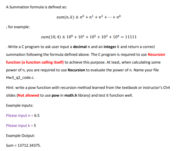 Solved: A Summation Formula Is Defined As: Sum(n, K) 스 No