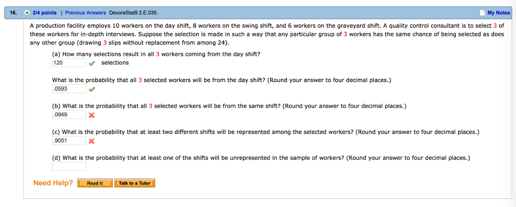 Question A Production Facility Employs 10 Workers On The Day Shift 8 Swing And 6 Wo