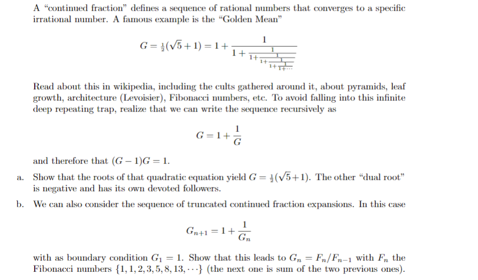Solved A Continued Fraction Defines A Sequence Of Ratio