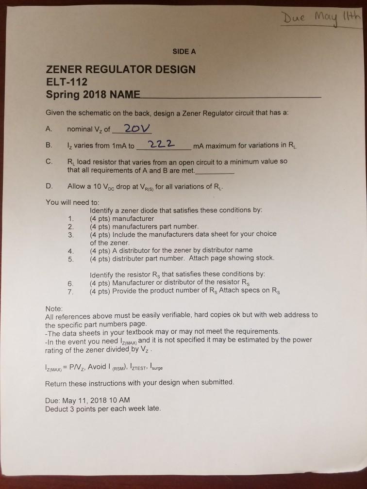 Solved Bue Moy Lth Side A Zener Regulator Design Elt 112