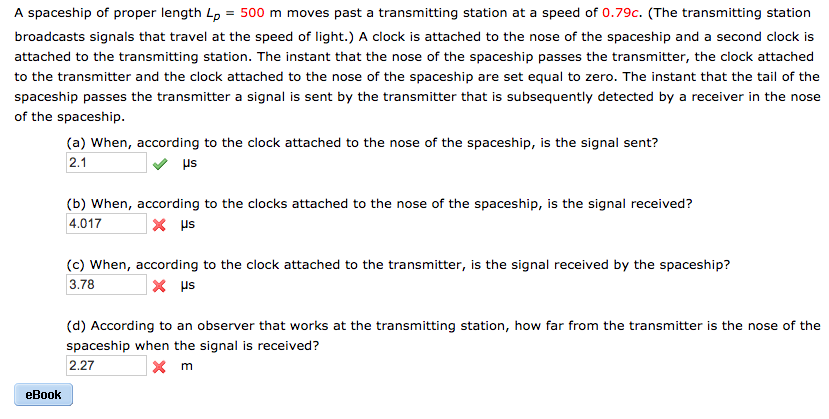 Advanced physics archive march 11 2017 chegg 1 answer a spaceship of proper length l 500 m moves past a transmitting station at a speed fandeluxe Images