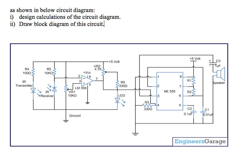 as shown in below circuit diagram: i) design calculations of the circuit  diagram ii