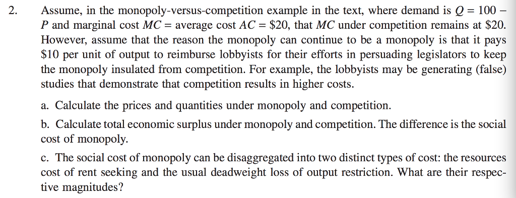 example of monopoly competition