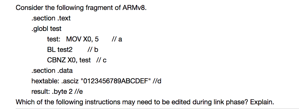 Consider The Following Fragment Of Armv8 Ction Chegg