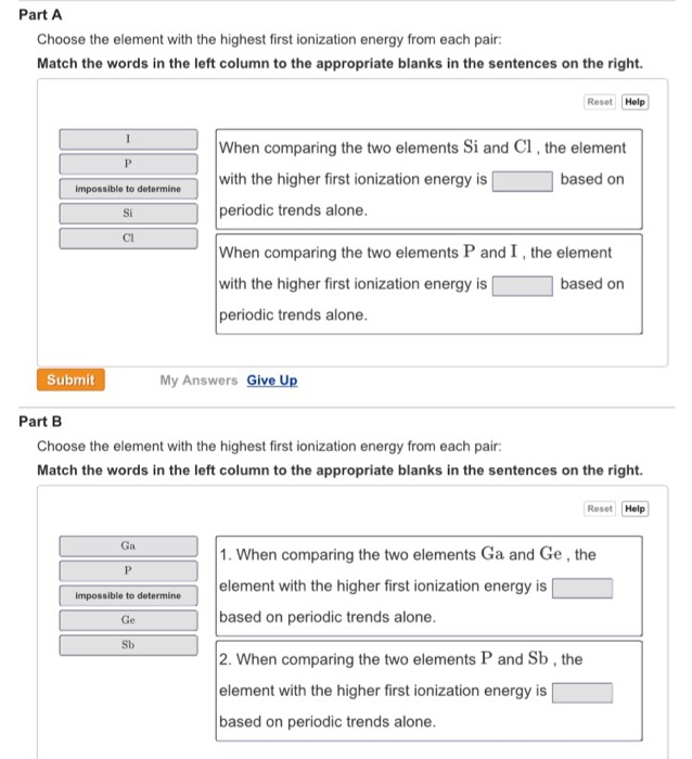 Solved Part A On The Basis Of Periodic Trends Choose The