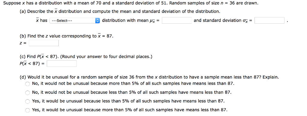 Solved: Suppose X Has A Distribution With A Mean Of 70 And