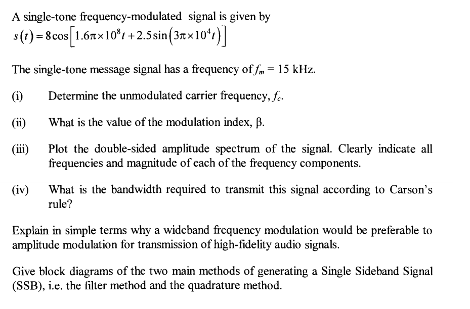 Phenomenal Solved A Single Tone Frequency Modulated Signal Is Given Wiring Cloud Aboleophagdienstapotheekhoekschewaardnl