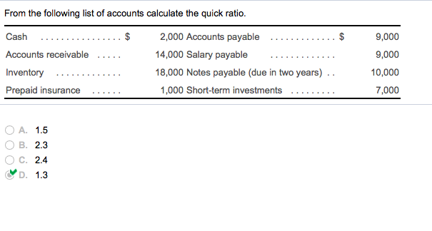 Accounting archive october 12 2017 chegg from the following list of accounts calculate the quick ratio 2000 accounts payable fandeluxe Image collections