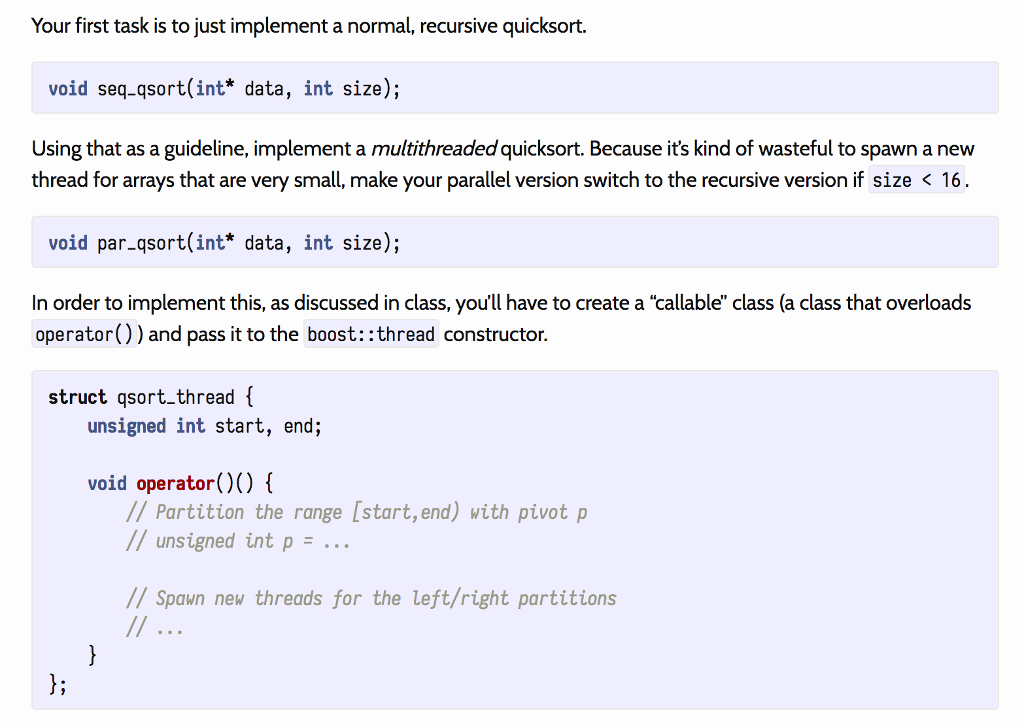 Solved: C++ Multithread Version Of QuickSort: Code Impleme
