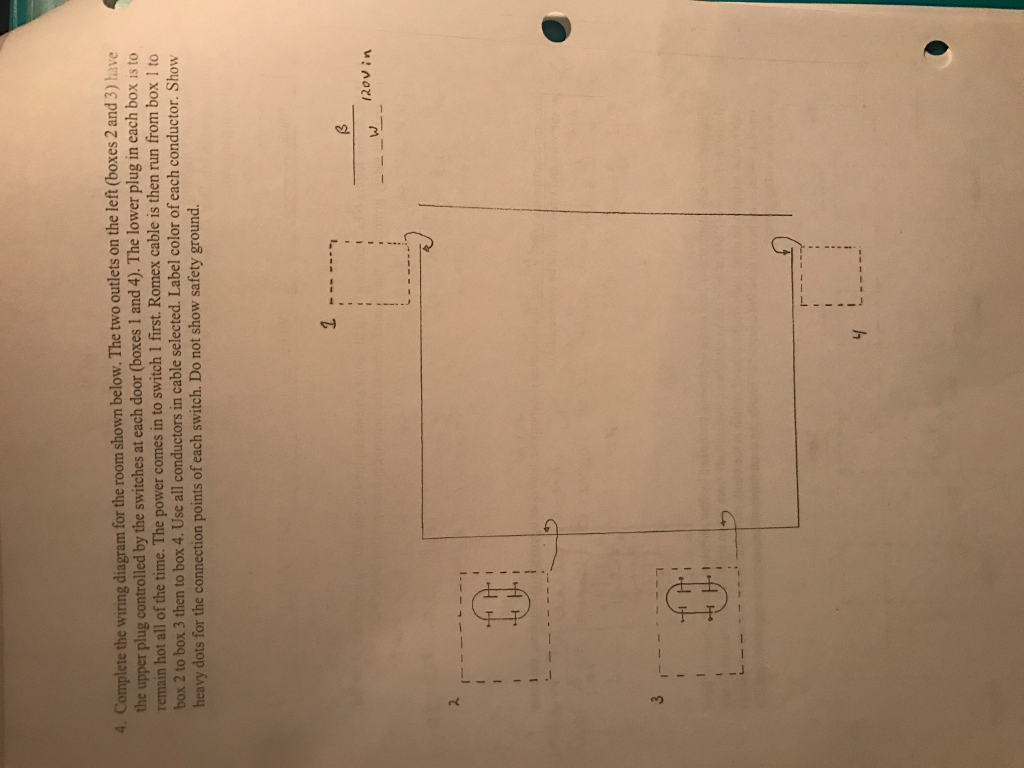 Complete the wiring diagram for the room shown below. The two outlets on  the left
