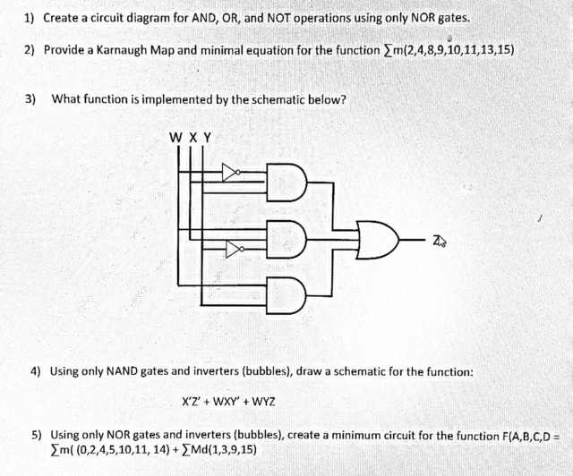 Solved: 1) Create A Circuit Diagram For AND, OR, And NOT O ...