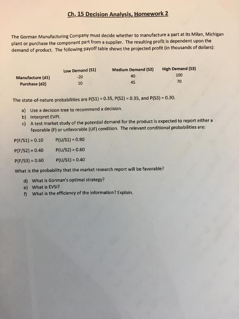 Ch15 Decision Analysis Homework 2 The Gorman