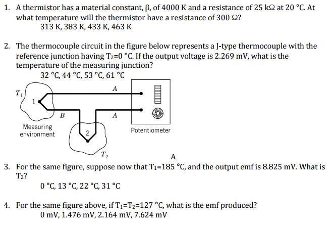 A Thermistor Has A Material Constant, Beta, Of 400    | Chegg com