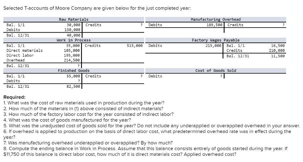 Selected T-accounts of Moore Company are given below for the just completed year: Raw Materials Manufacturing Overhead 189,500 Credits 30,000 Credits ?Debits Bal. 1/1 Debits Bal. 12/31 15e,eee 40,088 Work in Process Factory Wages Payable 515,000 Debits 215,000Bal. 1/1 16,500 210,000 11,500 35,000 Credits Bal. 1/1 Direct materials Direct labor Overhead Bal. 12/31 105,000 195,ee0 214, 500 Credits Bal. 12/31 Finished Goods Cost of Goods Sold 55,000 Credits ?Debits Bal. 1/1 Debits Bal. 12/31 82,500 Required: 1. What was the cost of raw materials used in production during the year? 2. How much of the materials in (1) above consisted of indirect materials? 3. How much of the factory labor cost for the year consisted of indirect labor? 4. What was the cost of goods manufactured for the year? 5. What was the unadjusted cost of goods sold for the year? Do not include any underapplied or overapplied overhead in your answer. 6. If overhead is applied to production on the basis of direct labor cost, what predetermined overhead rate was in effect during the year? 7. Was manufacturing overhead underapplied or overapplied? By how much? 8. Compute the ending balance in Work in Process. Assume that this balance consists entirely of goods started during the year. If $11,750 of this balance is direct labor cost, how much of it is direct materials cost? Applied overhead cost?