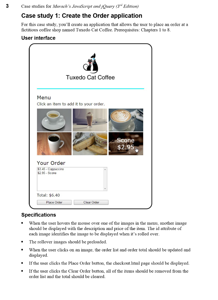 Index HTML: Tuxedo Cat Coffee Menu Click An Item T    | Chegg com