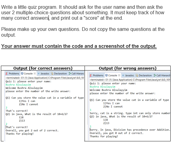 Solved: Write A Little Quiz Program  It Should Ask For The