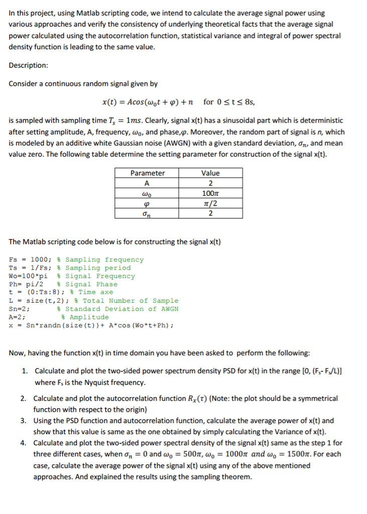 In This Project, Using Matlab Scripting Code, We I    | Chegg com