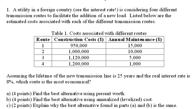 How Much Does A New Transmission Cost >> Solved A Utility In A Foreign Country See The Interest R