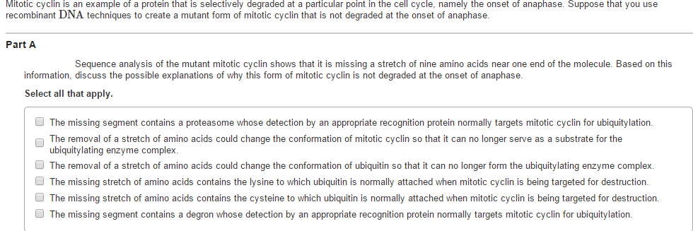 Solved Mitotic Cyclin Is An Example Of A Protein That Is