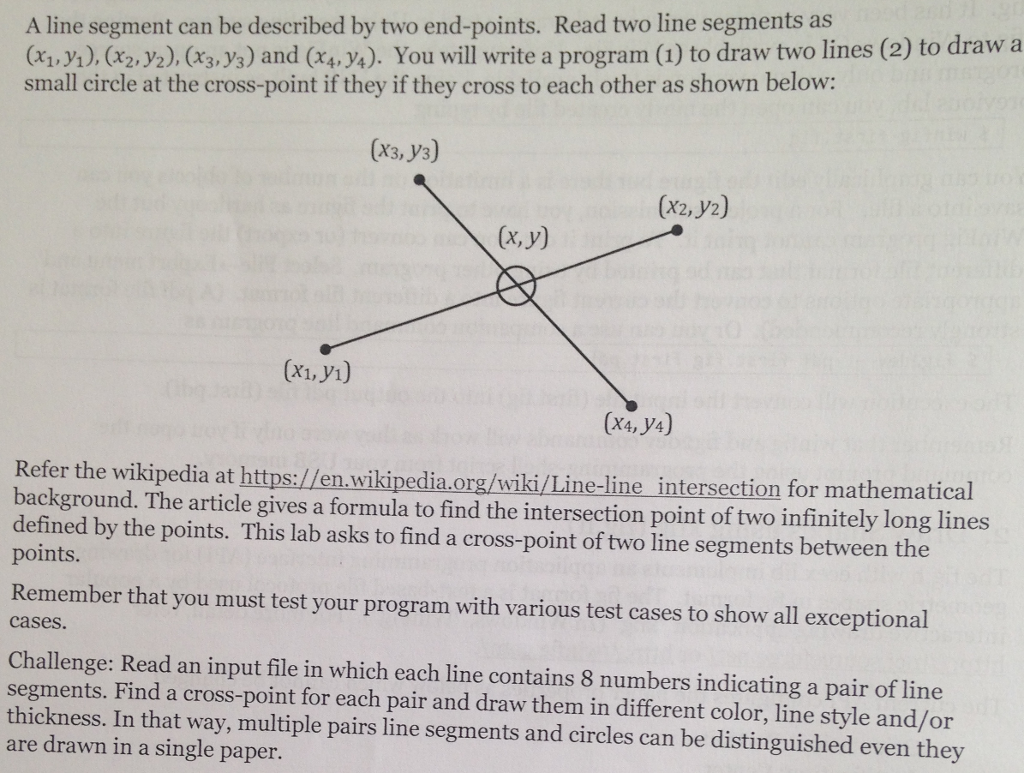 Solved: A Line Segment Can Be Described By Two End-points