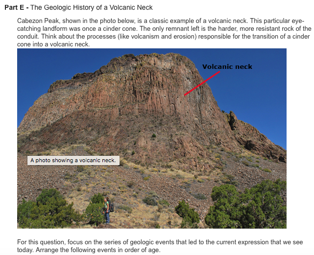 Solved Part E The Geologic History Of A Volcanic Neck C