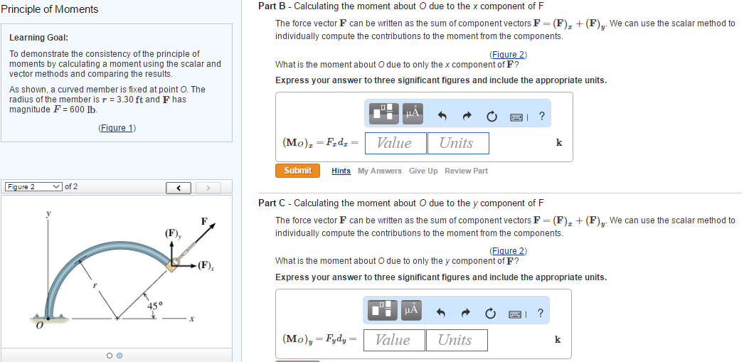 Solved: Part A - Calculating The Moment About O Using The