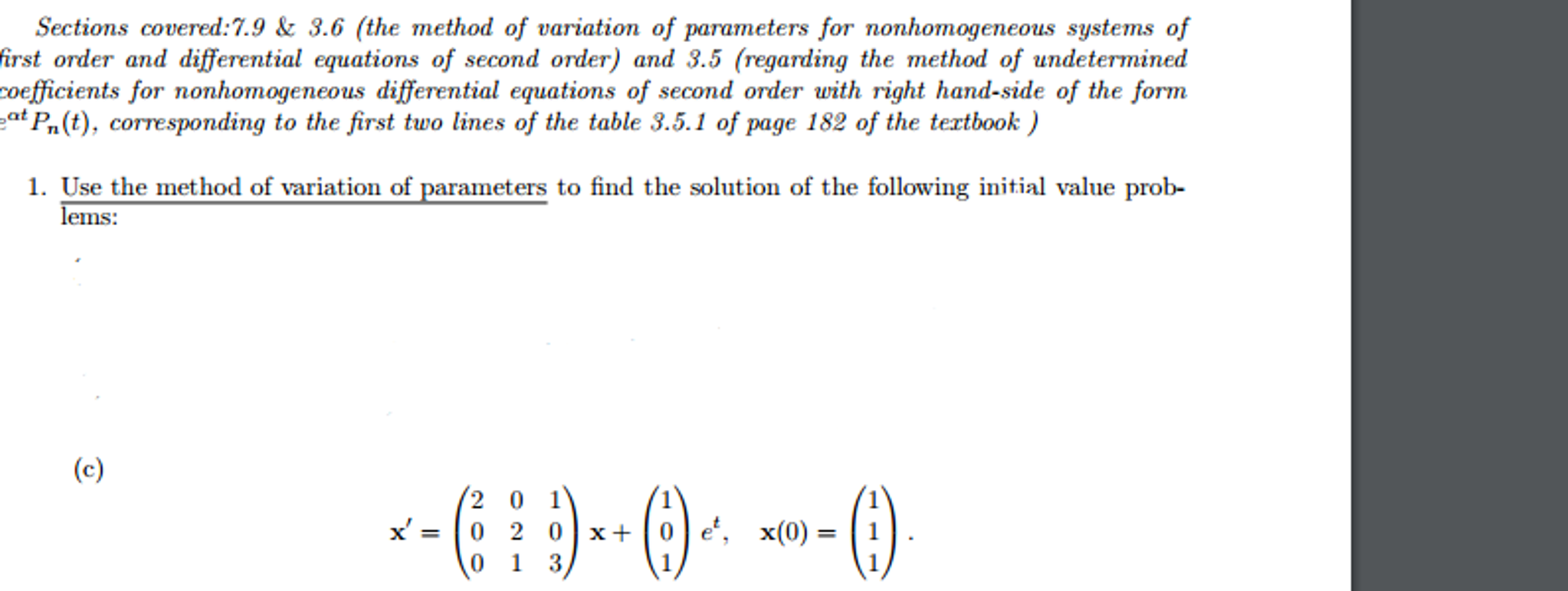The Method Of Variation Of Parameters For Nonhomog