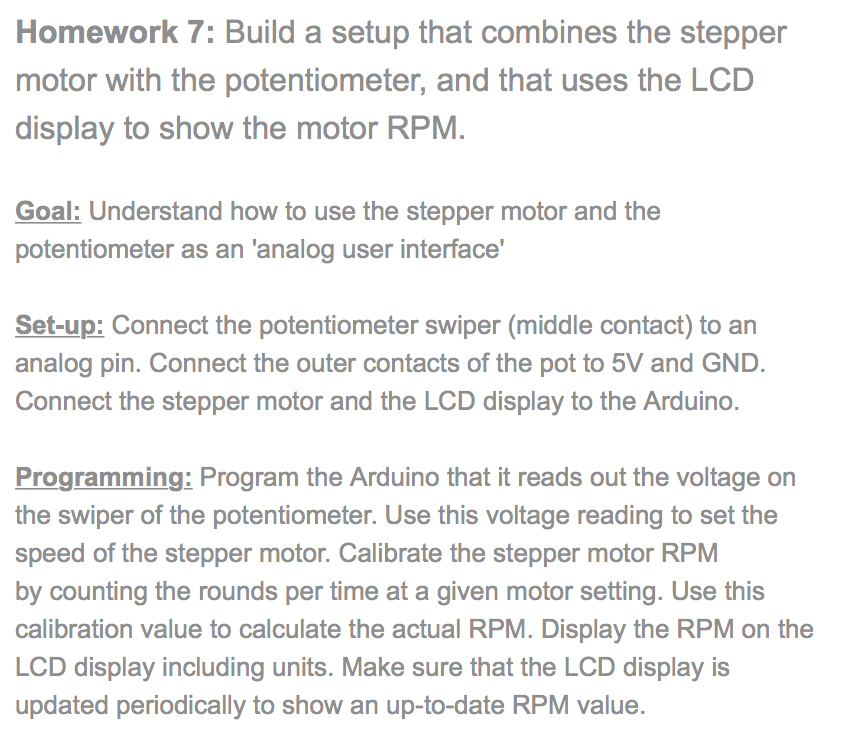Homework 7: Build a setup that combines the stepper motor with the potentiometer, and