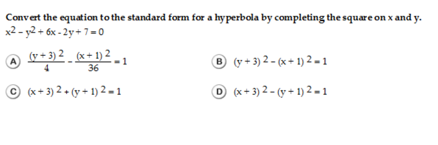 Solved Convert The Equation To The Standard Form For A Hy