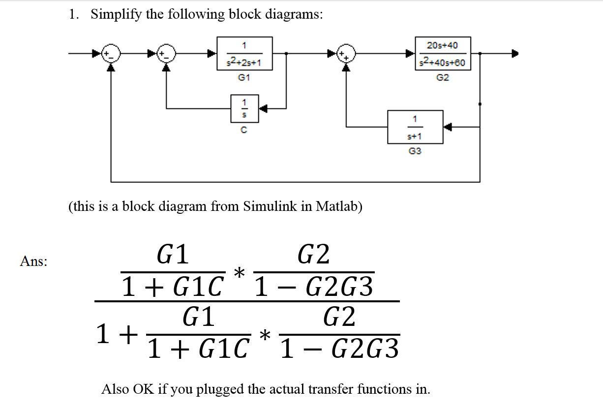 Question: Simplify the following block diagrams: (this is a block diagram  from Simulink in Matlab) Ans: