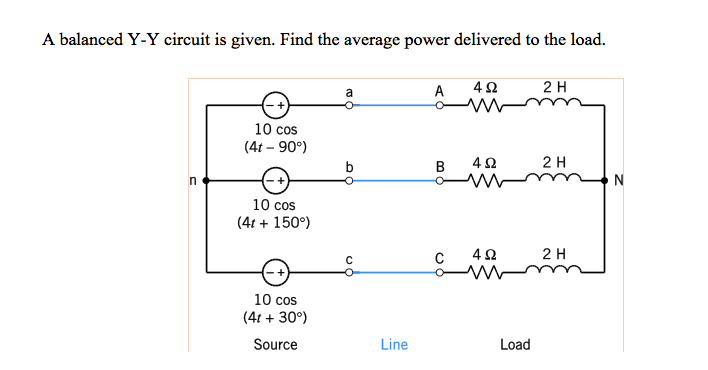 A balanced Y-Y circuit is given. Find the average power delivered to the load. A 4 2H 10 cos (4t - 90°) B 4Ω 2 H 10 cos (4t150°) 4Ω 2 H 10 cos (4t +30°) Source Line Load