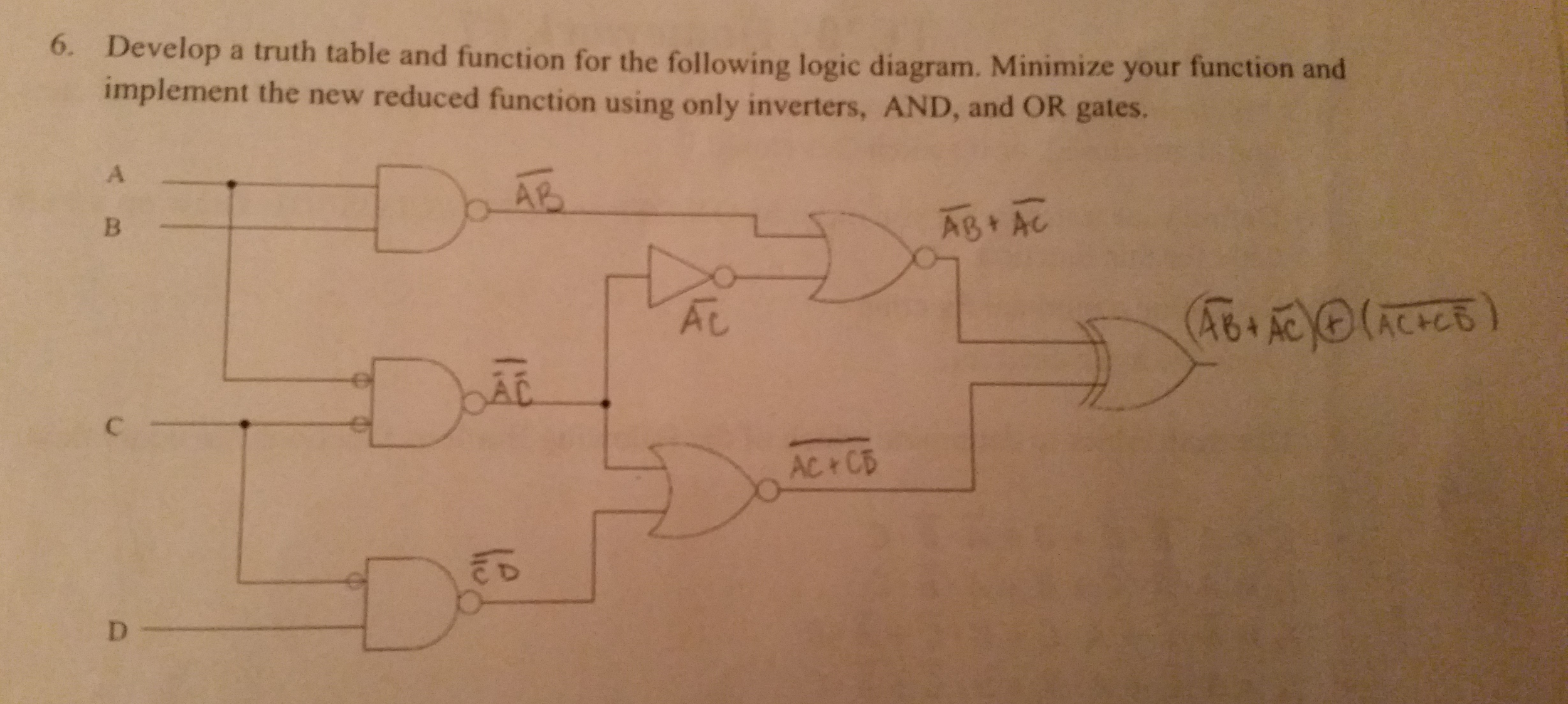 Solved Develop A Truth Table And Function For The Followi Logic Diagram From