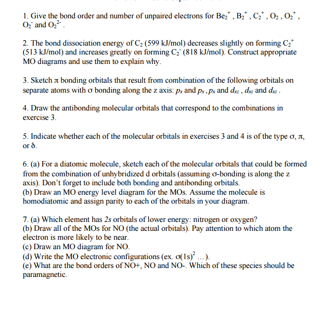 Solved Give The Bond Order And Number Of Unpaired Electro