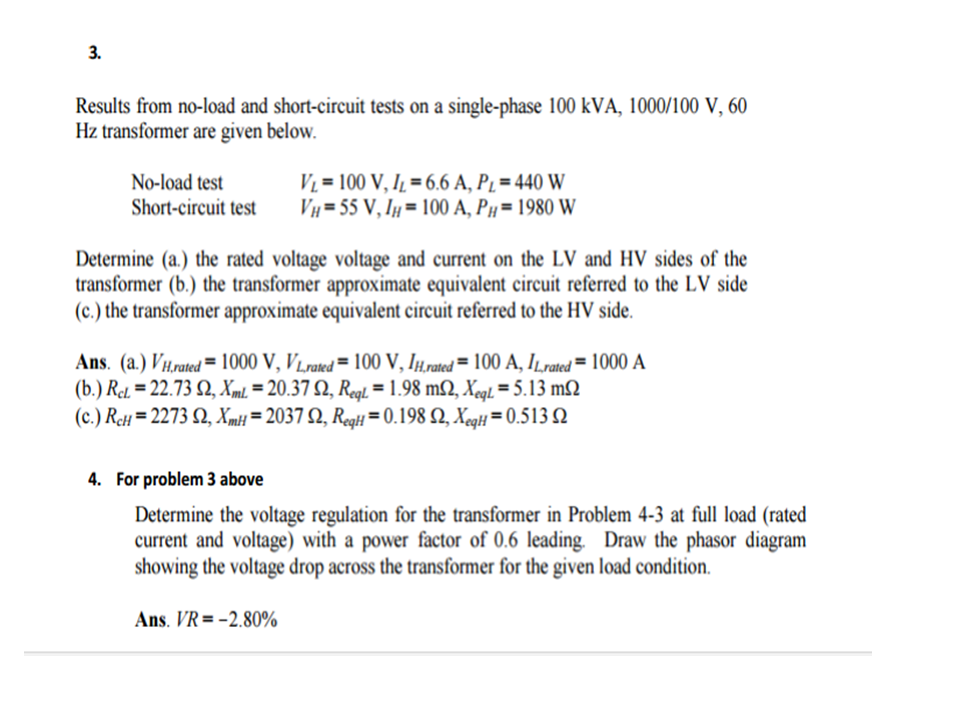 solved results from no load and short circuit tests on a rh chegg com 13 Circuit Court DC Power Supply Schematic