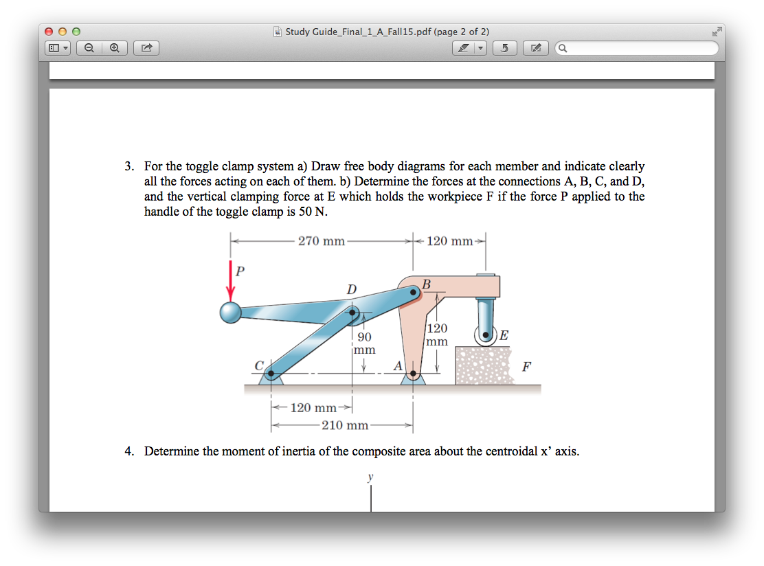 Solved For The Toggle Clamp System Draw Free Body Diagram Diagra