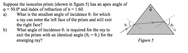 Physics archive october 02 2016 chegg 1 answer suppose the isosceles prism shown in figure 5 ha fandeluxe Choice Image