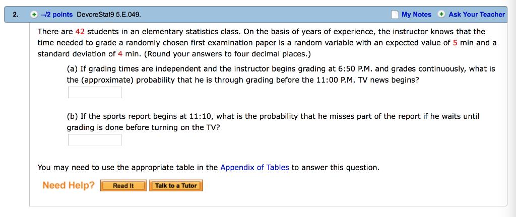 Solved: 2  +-/2 Points DevoreStat95·E 049 My Notes + Ask Y