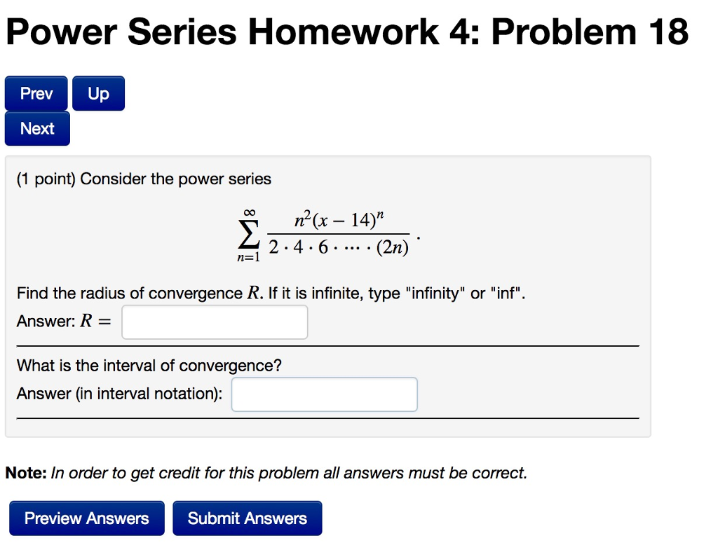 Advanced math archive november 28 2017 chegg power series homework 4 problem 18 prev up next 1 point consider the fandeluxe Gallery