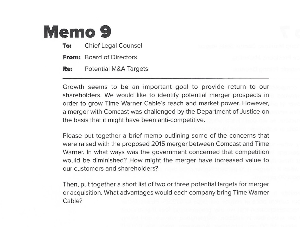 Solved: Memo 9 To Chief Legal Counsel From: Board Of Direc