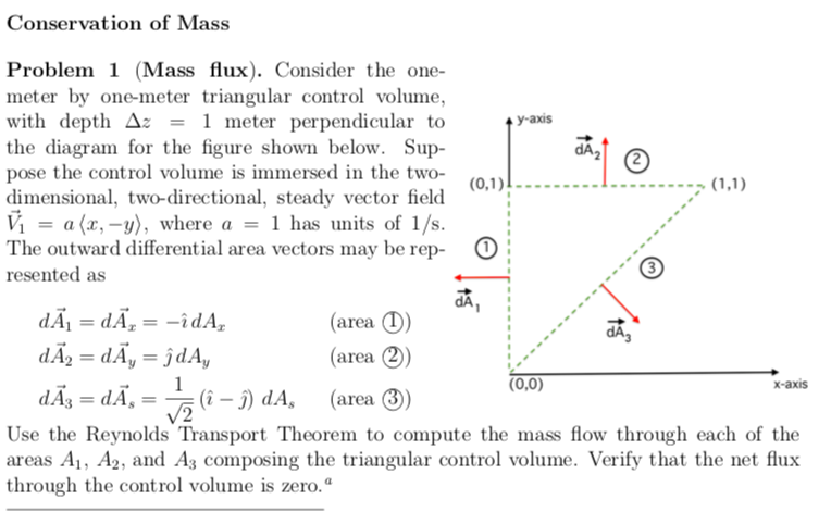 Conservation Of Mass Problem 1 (Mass Flux)  Consid    | Chegg com