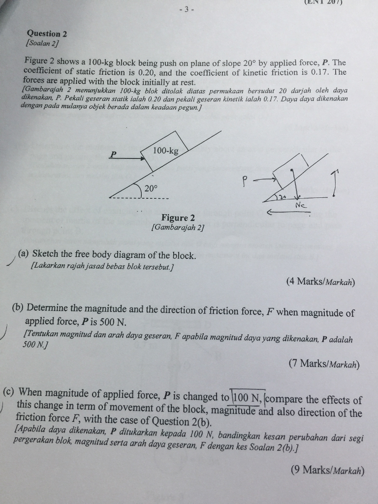 Solved question 2 soalan 2 figure 2 shows a 100 kg block question 2 soalan 2 figure 2 shows a 100 kg block being push on plane ccuart Images