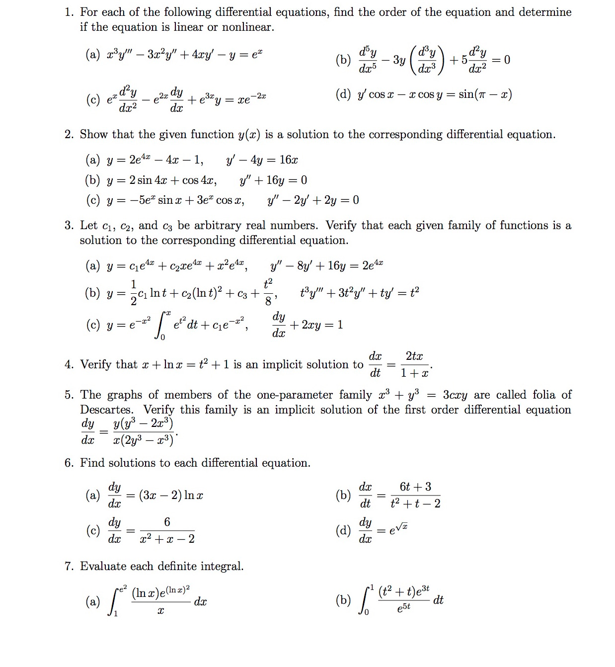 solved: for each of the following differential equations