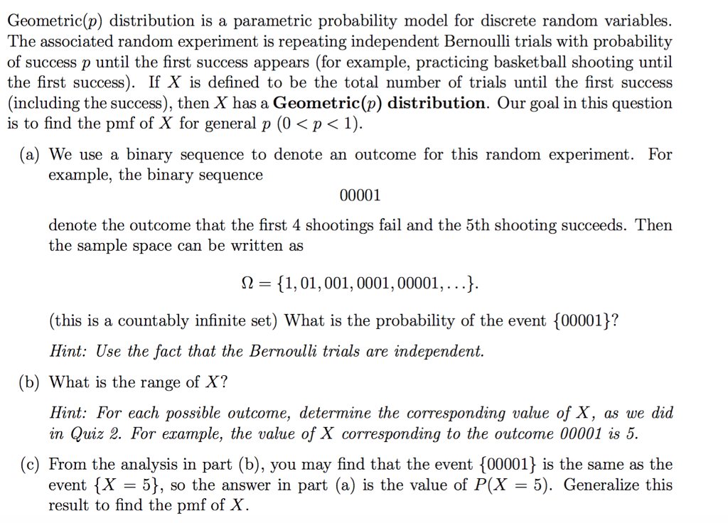 Solved Geometric P Distribution Is A Parametric Probabi