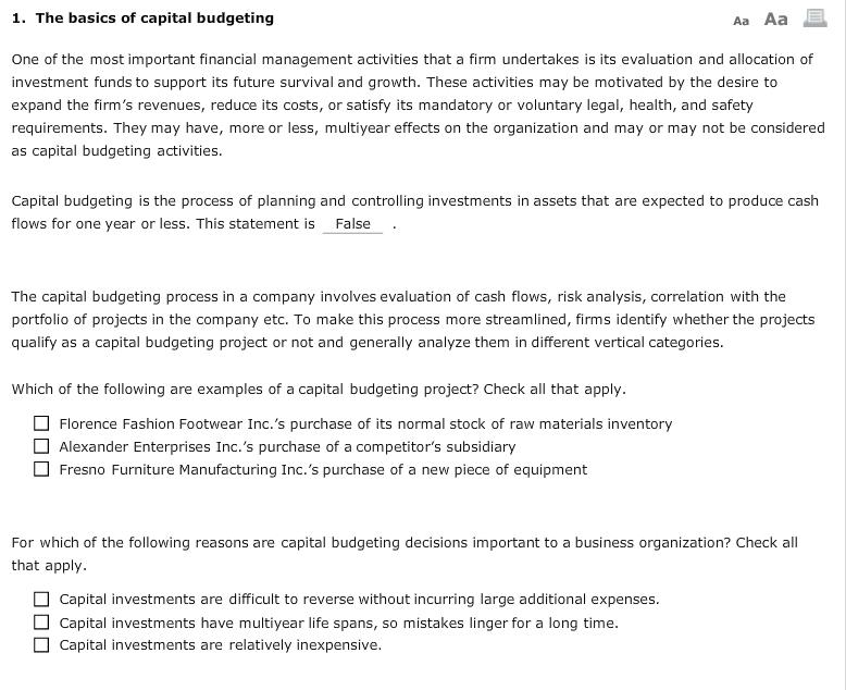 the basics of capital budgeting evaluation