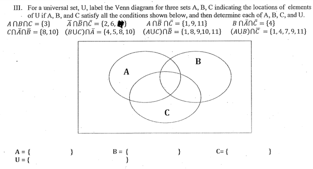 Solved Iii For A Universal Set U Label The Venn Diagra