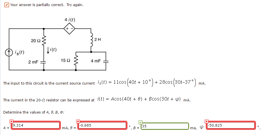 solved the input to this circuit is the current source cuyour answer is partially correct try again 4 i(t) 2 h the input to this circuit is the current source