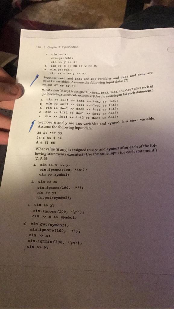 Solved 176i Chapter 3 Inputoutput C Cin Eintchs E